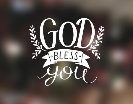 手あなたを祝福神をレタリングします。キリスト教のポスター。カードお祝いの言葉。現代書道