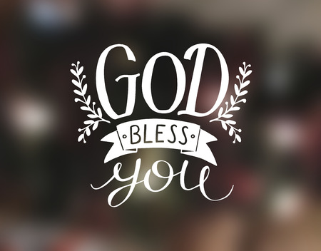 Hand lettering God bless you. Christian poster. Card. Congratulations. Modern calligraphy