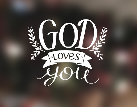 Hand lettering God loves you. Biblical background. Christian poster. Card. Modern calligraphy Stock Photo