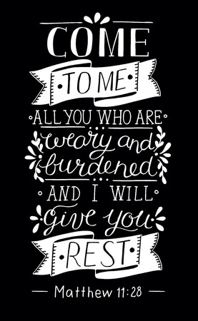 Hand lettering Come to Me. Biblical background. Christian poster. Vintage. Evangelism