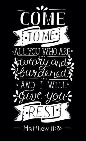 Lettera a mano Vieni a Me. Sfondo biblico. Poster cristiano. Annata. predicazione