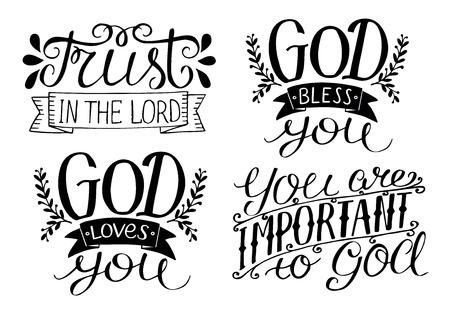4 Hand belettering God zegene u. God houdt van je. Vertrouw op de Heer. Je bent belangrijk voor God. Bijbelse achtergrond. Christelijke poster. Kaart. Moderne kalligrafie Vector Illustratie