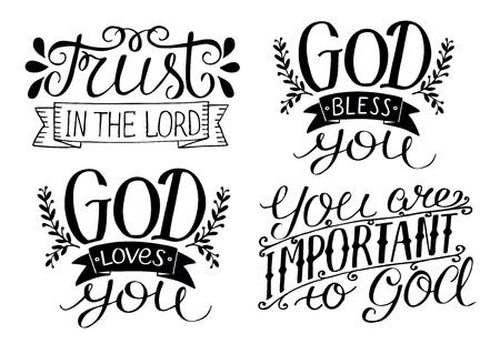 4 Letras de mano Dios te bendiga. Dios te ama. Confía en el Señor. Eres importante para Dios. Antecedentes bíblicos Cartel cristiano Tarjeta. Caligrafía moderna Ilustración de vector