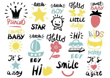 14 children s logo with handwriting Little boy, It s a girl, Hi, Princess, Smile, Sweet baby, Hello, Star. Kids background. Poster Emblem Vettoriali