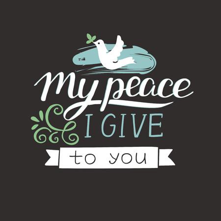 私はあなたに与える私の平和をレタリングの手。聖書の背景。キリスト教のポスター。聖書。現代書道
