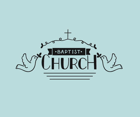 ministration: Church s logo with hand lettering and cross and pigeons. Biblical background. Christian poster. Vintage. Illustration