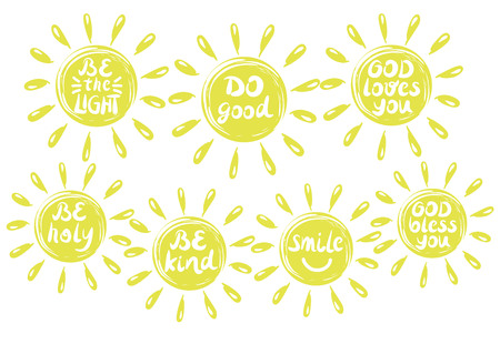 7 Ruční nápis s křesťanskými logy, vyrobený v kruhu s paprsky. Biblický vzor. Moderní kaligrafie. Plakát. Karta. Ilustrace