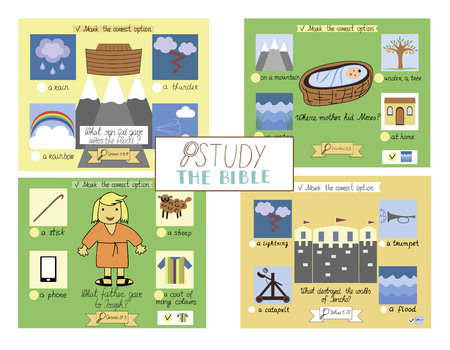 4 Bible test for kids. Sunday school. Tasks for children. Training. Scripture