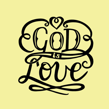 Hand lettering God is love.