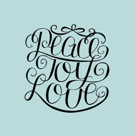 Hand lettering Peace, joy, love. Biblical background. Christian poster. Modern calligraphy Card Christmas Illustration