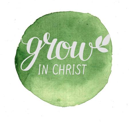 Ruční nápis Grow in Christ, vystoupil v kruhu. Biblické pozadí. Nový zákon. Plakát. Moderní kaligrafie.