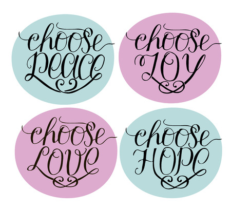 Hand lettering choose joy, peace, love, hope. card.