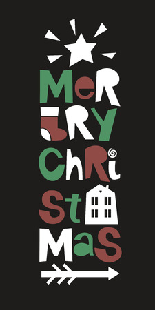 Holiday quotes Merry Christmas. Poster Card Greeting Illustration