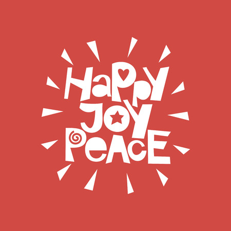 Holiday quotes Happy, Joy, peace Poster Card Greeting Illustration