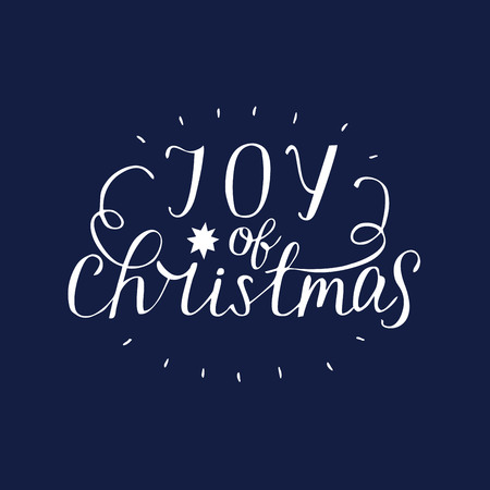 Hand lettering Joy of christmas . Biblical background. Christian poster. Modern calligraphy Card Holiday Illustration