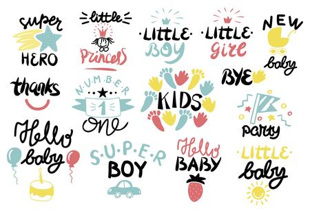 14 childrens emblem with lettering set vector Illustration