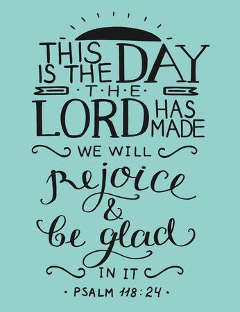 聖書の詩は、これは主が作られた日です、詩篇、キリスト教のポスター、カード、新約聖書、聖書。  イラスト・ベクター素材