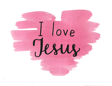 Hand lettering I love Jesus. Biblical background. Christian poster. Card. Scripture Logo