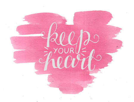 Hand lettering Keep your heart. Biblical background. Christian poster. New Testament. Scripture. Card. Modern calligraphy Graphics Banco de Imagens