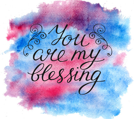 Hand lettering You are my blessing. Biblical background. Christian poster. Card. Graphics 스톡 콘텐츠