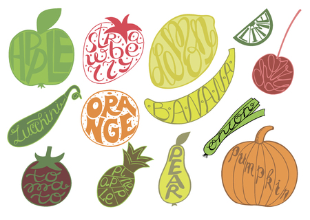 Set with fruits and vegetables. Hand lettering made inside fruits.