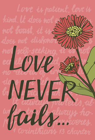 Greeting card design idea with quotes and flowers. Stock Illustratie