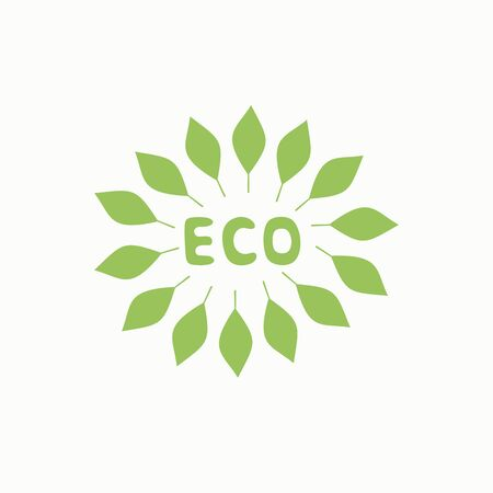Logo with inscription eco and green leaves. Label Trading symbol Illustration
