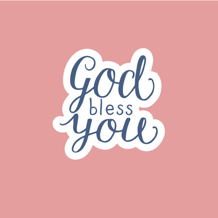 Hand lettering God bless you made on pink background. Christian poster. Card. Congratulations. Modern calligraphy Çizim