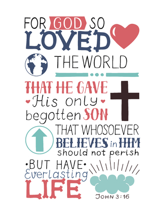 Golden Bible verse John 3 16 For God so loved the world, made hand lettering with heart and cross. Biblical background. Christian poster. Modern calligraphy. Graphics. Scripture. New testament