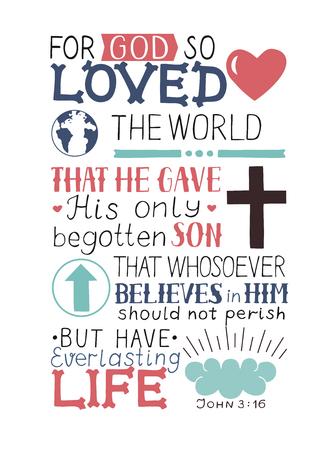 Verso da Bíblia Dourada João 3 16 Porque Deus amou o mundo de tal maneira que fez a mão lettering com coração e cruz. Fundo bíblico. Cartaz cristão. Caligrafia moderna. Gráficos. Escritura Novo Testamento