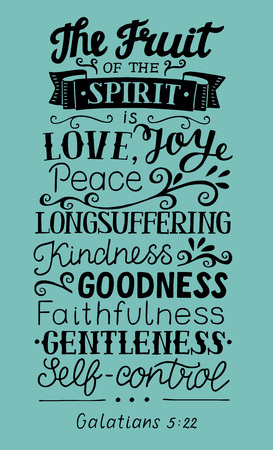 Hand lettering The fruit of the Spirit . Bible verse. Christian poster. New Testament. Galatians. Grapics
