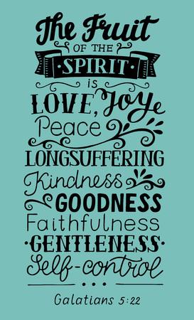 Letras de mano El fruto del Espíritu. Versículo de la Biblia. Cartel cristiano Nuevo Testamento. Gálatas Grapics