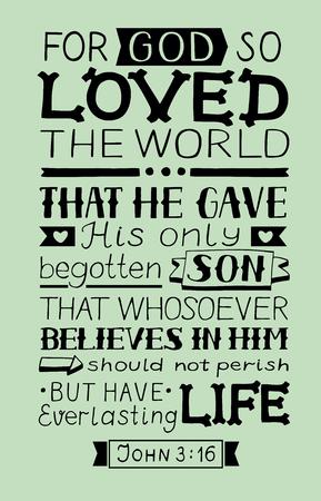 Golden Bible verse John 3:16 quote vector illustration