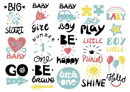 15 children s logo with handwriting Little one, Hello baby, Shine, Girl, Boy, Be brave, happy, GO, Big start, Lets play Kids background Poster Emblem Icon Ilustração