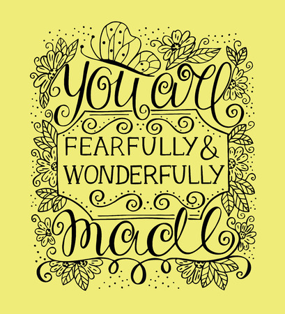 Hand lettering You are fearfully and wonderfully made. Biblical background. Christian poster. Scripture. Modern calligraphy. Graphics. Card