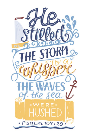 Hand lettering Bible verse poster vector illustration
