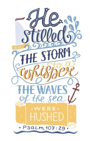 Hand lettering Bible verse poster vector illustration