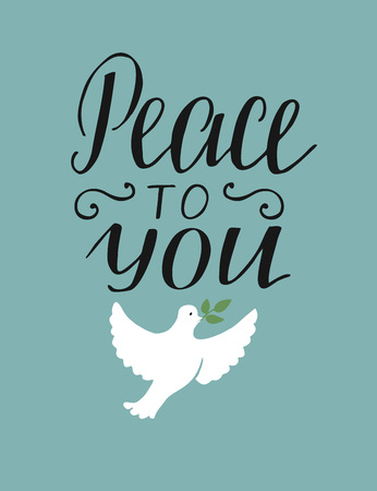 Hand lettering, peace to you, Christian poster. New testament modern calligraphy, quote, bible verse card scripture.