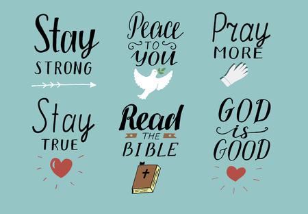 Conjunto de 6 citas cristianas de letras a mano Ilustración de vector