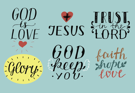Set of 6 Hand lettering christian quotes God is love. Jesus. Trust in the Lord.