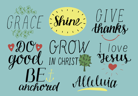 Set of Hand lettering christian quotes. Modern calligraphy Card Scripture Symbol Logo