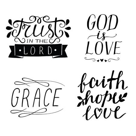 Zestaw 4 ręcznie napisane chrześcijańskie cytaty Bóg jest miłością. Wiara Nadzieja Miłość. Wdzięk. Zaufaj Panu. Tło biblijne. Plakat. Współczesna kaligrafia Pismo Święte karty