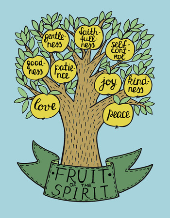 The fruit of the Spirit with tree vector illustration Stock Illustratie