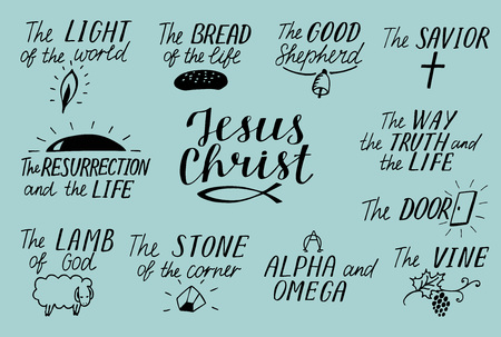 Set of 11 Hand lettering christian quotes about Jesus Christ. Savior, good shepherd. Way, truth, life. Alpha and Omega. Lamb of God. Light of world. Biblical background, scripture symbol. Vettoriali
