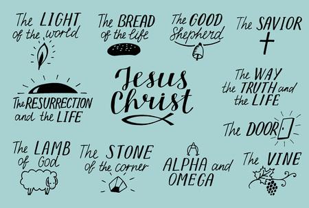 Set of 11 Hand lettering christian quotes about Jesus Christ. Savior, good shepherd. Way, truth, life. Alpha and Omega. Lamb of God. Light of world. Biblical background, scripture symbol. Illustration