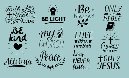 Set of 12 Hand lettering christian quotes Only Jesus. Love one another. Church ministry. Alleluia. Be light. Bible. Faith, hope. Peace. Be kind. Blessed. Biblical background. Poster Card Scripture Symbol Logo 版權商用圖片 - 96981743