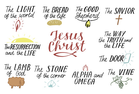 Set of 11 Hand lettering christian quotes about Jesus Christ. Savior. Door. Good Shepherd. Way, truth, life. Alpha and Omega. Lamb of God. The vine. Light of world. Resurrection. Biblical background. Scripture Symbol Vectores