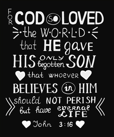Golden Bible verse John 3 16 For God so loved the world, made hand lettering with hearts.