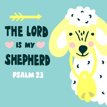 Rotulación a mano El Señor es mi pastor con ovejas. Trasfondo bíblico. Cartel cristiano. Tarjeta de bebé. Cita. Impresión de la escritura. Gráficos. Salmo 23. Escuela dominical