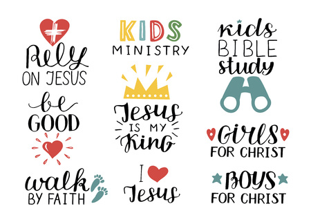 Set of 9 Hand lettering christian quotes Jesus is my king,Rely, Kids bible study, Be good, Girls, Boys, Walk by faith, Kids ministry . Biblical background. Poster. Sunday school. Scripture print. Quote